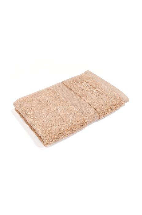 Gästehandtuch aus gekämmter ägäischer Baumwolle mit Ripp-Bordüre, Beige
