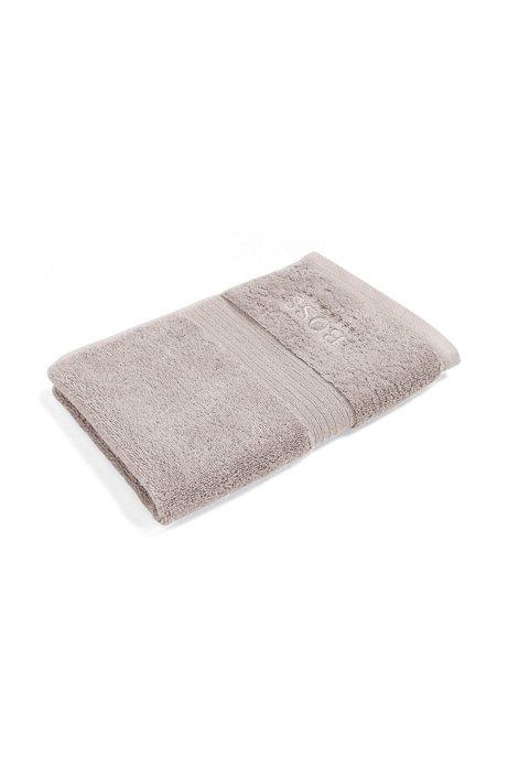 Asciugamano per ospiti in cotone egeo pettinato con bordi a coste, Beige chiaro