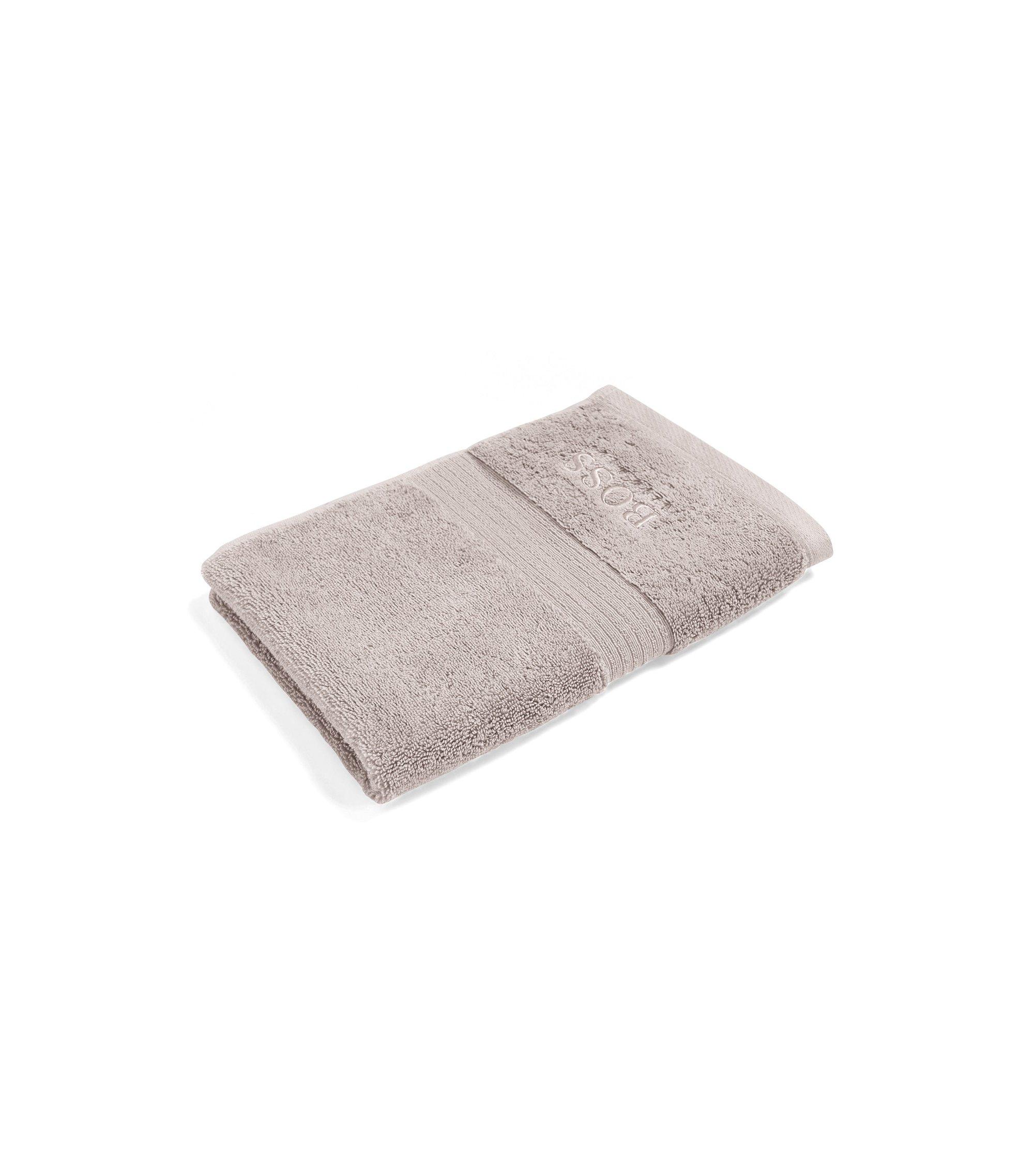 Serviette de toilette pour invité en coton égyptien peigné avec bordure côtelée, Beige clair