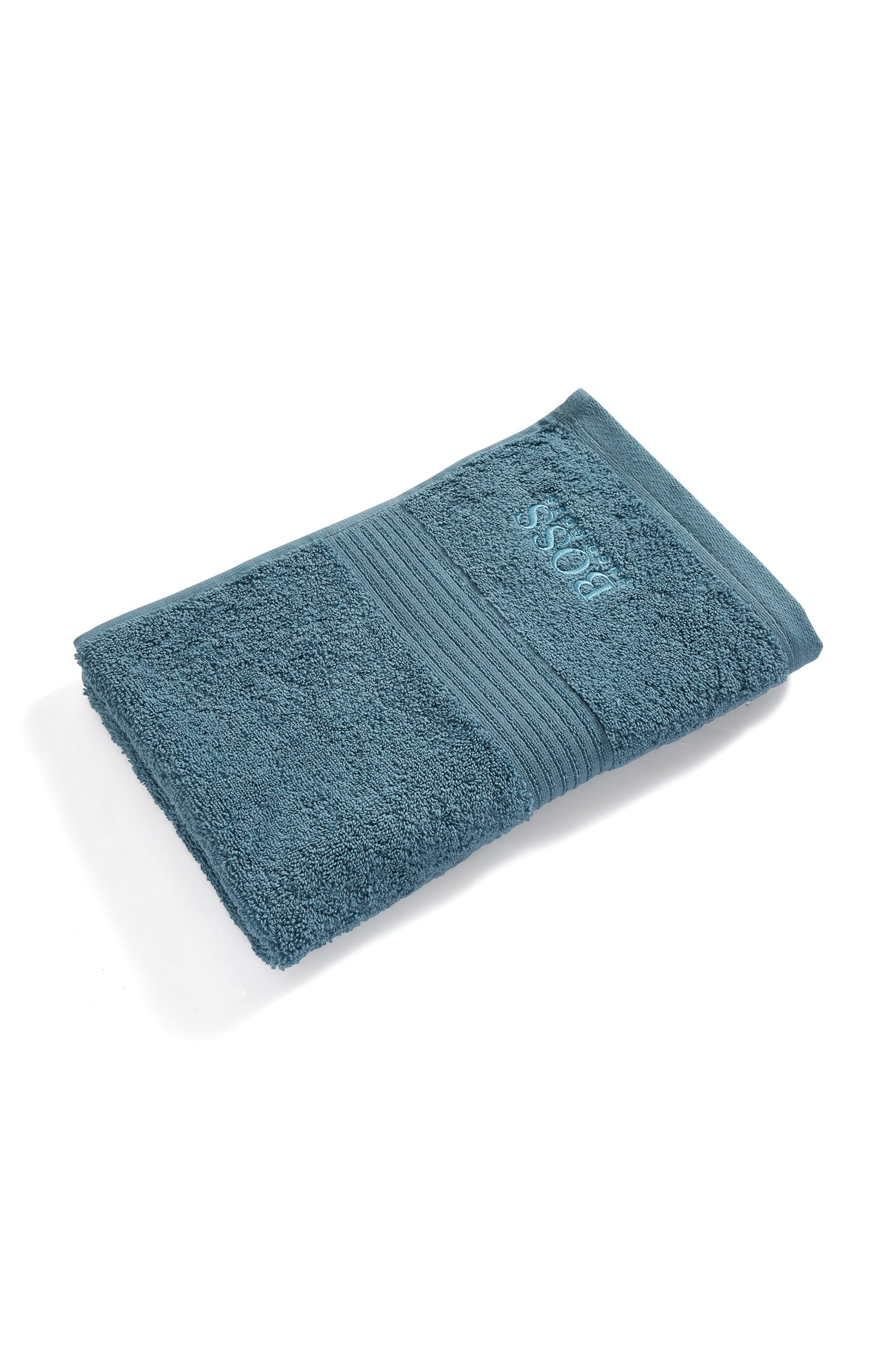 Guest towel in combed Aegean cotton with ribbed border, Dark Blue