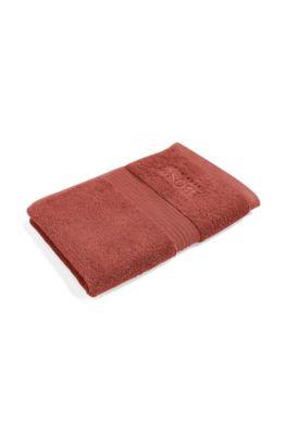 Serviette de toilette pour invité en coton égyptien peigné avec bordure côtelée, Orange foncé
