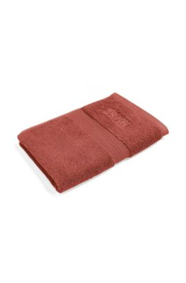 Guest towel in combed Aegean cotton with ribbed border, Dark Orange
