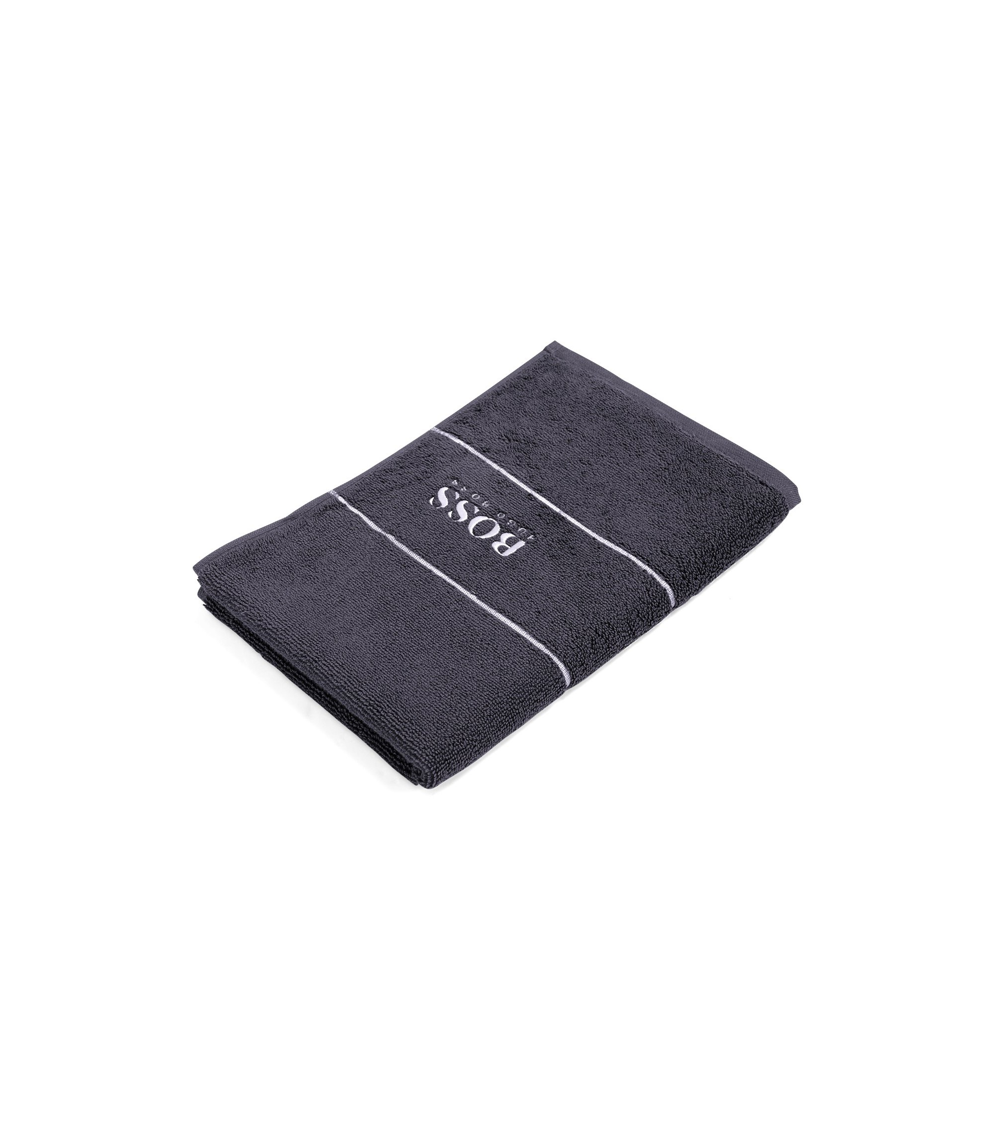 Finest Egyptian cotton guest towel with logo border, Anthracite
