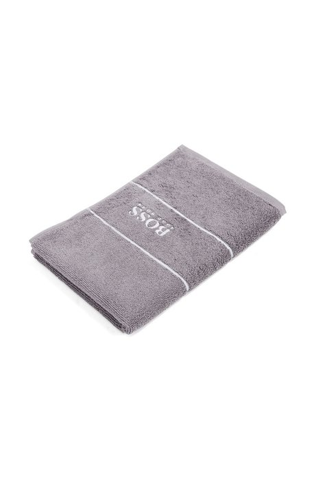 Finest Egyptian cotton guest towel with logo border, Dark Grey