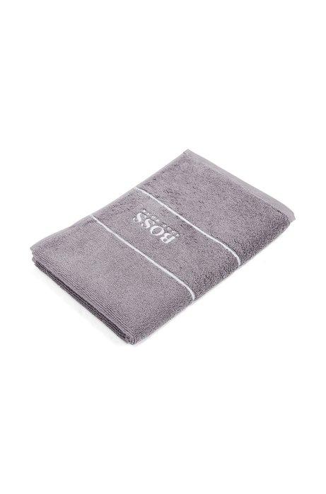 Asciugamano per ospiti in pregiato cotone egiziano con bordo con logo, Grigio scuro