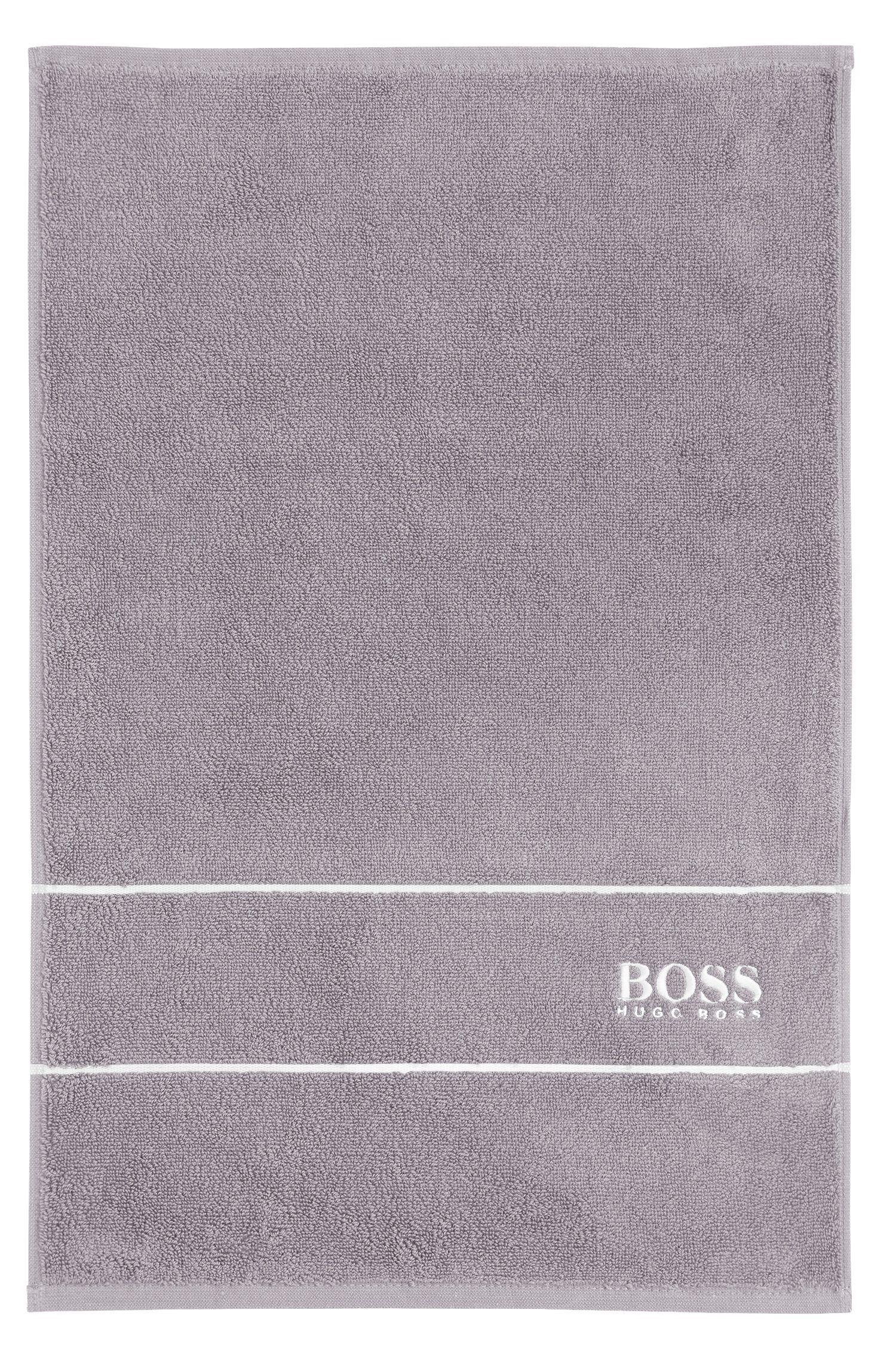 Serviette de toilette pour invité en coton égyptien des plus raffinés avec bordure logo, Gris sombre