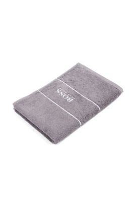 Guest towel 'PLAIN' with woven edging., Dark Grey