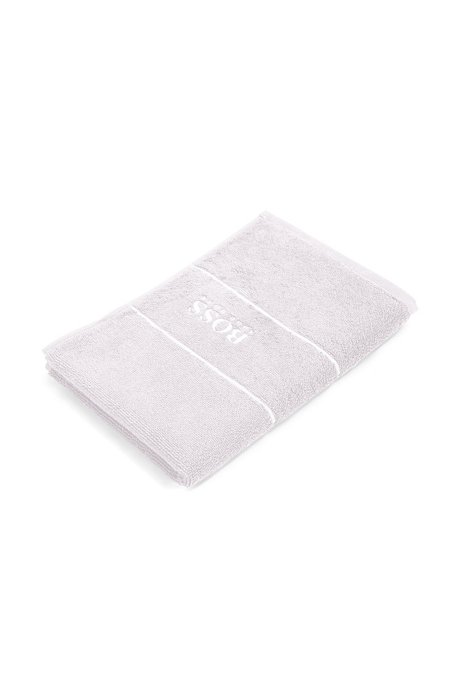 Finest Egyptian cotton guest towel with logo border, Silver