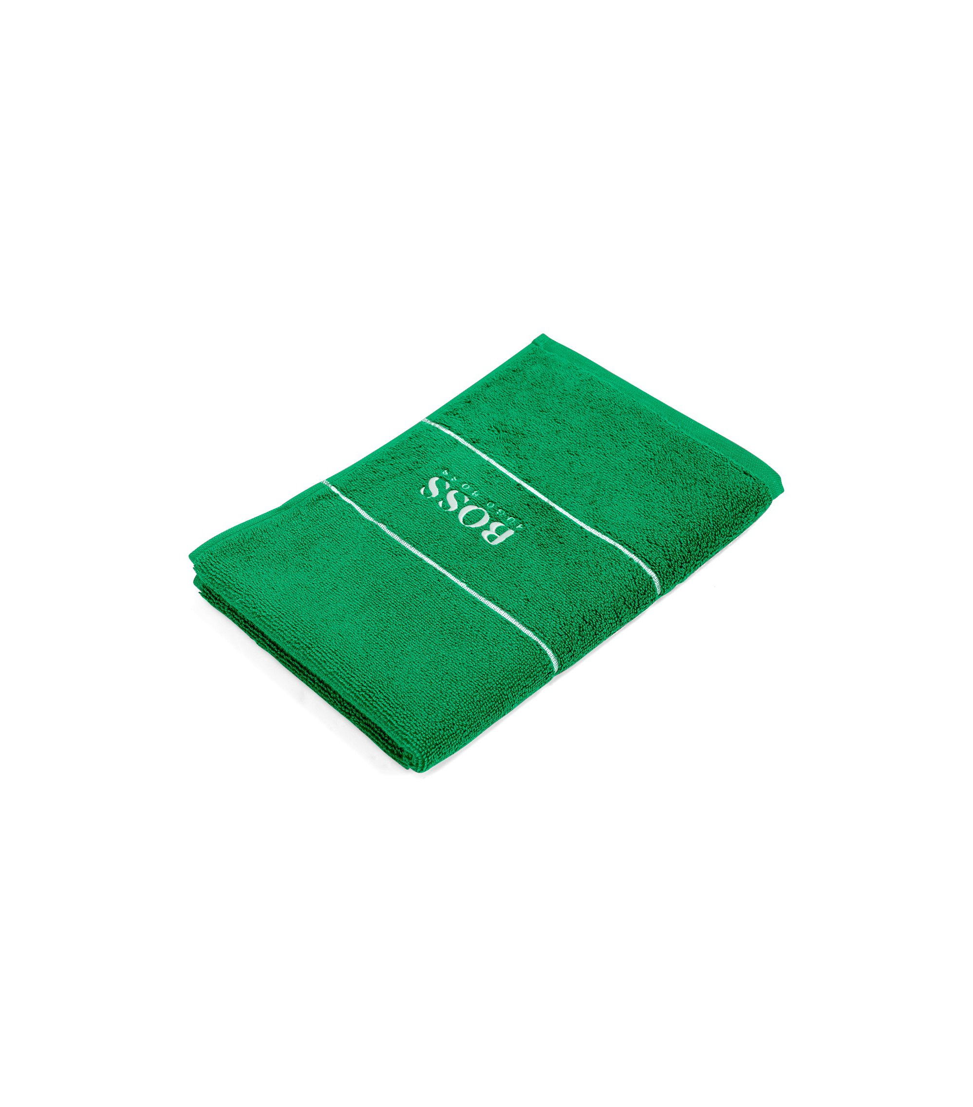 Finest Egyptian cotton guest towel with logo border, Green