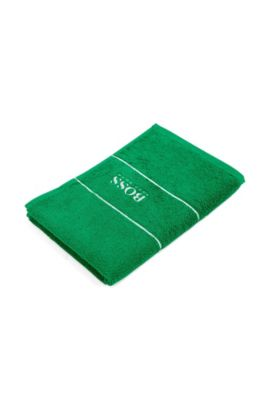 Guest towel 'PLAIN' with woven edging., Green
