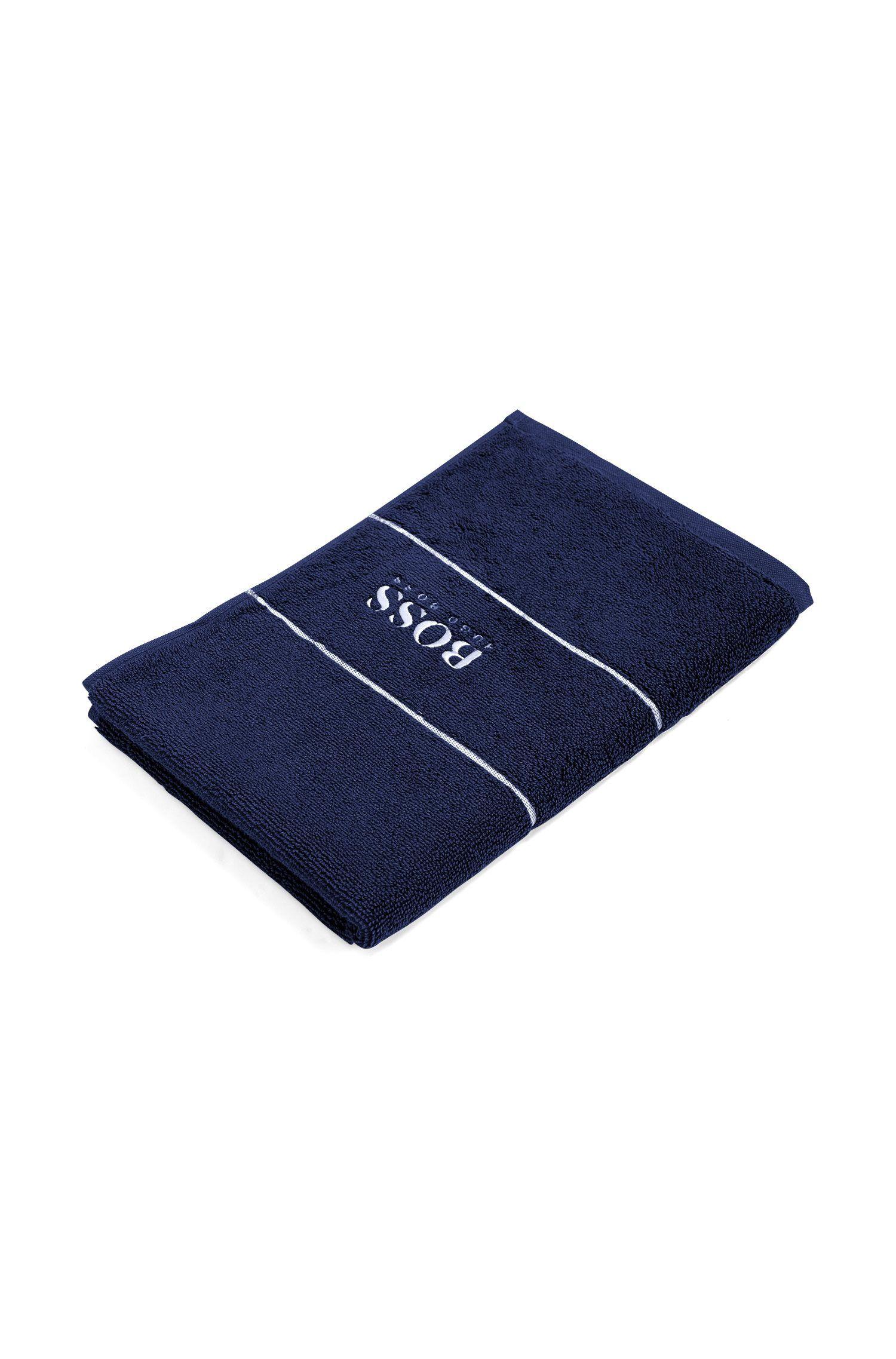 Toalla para invitados en algodón egipcio de la máxima calidad con logo en el borde, Azul oscuro
