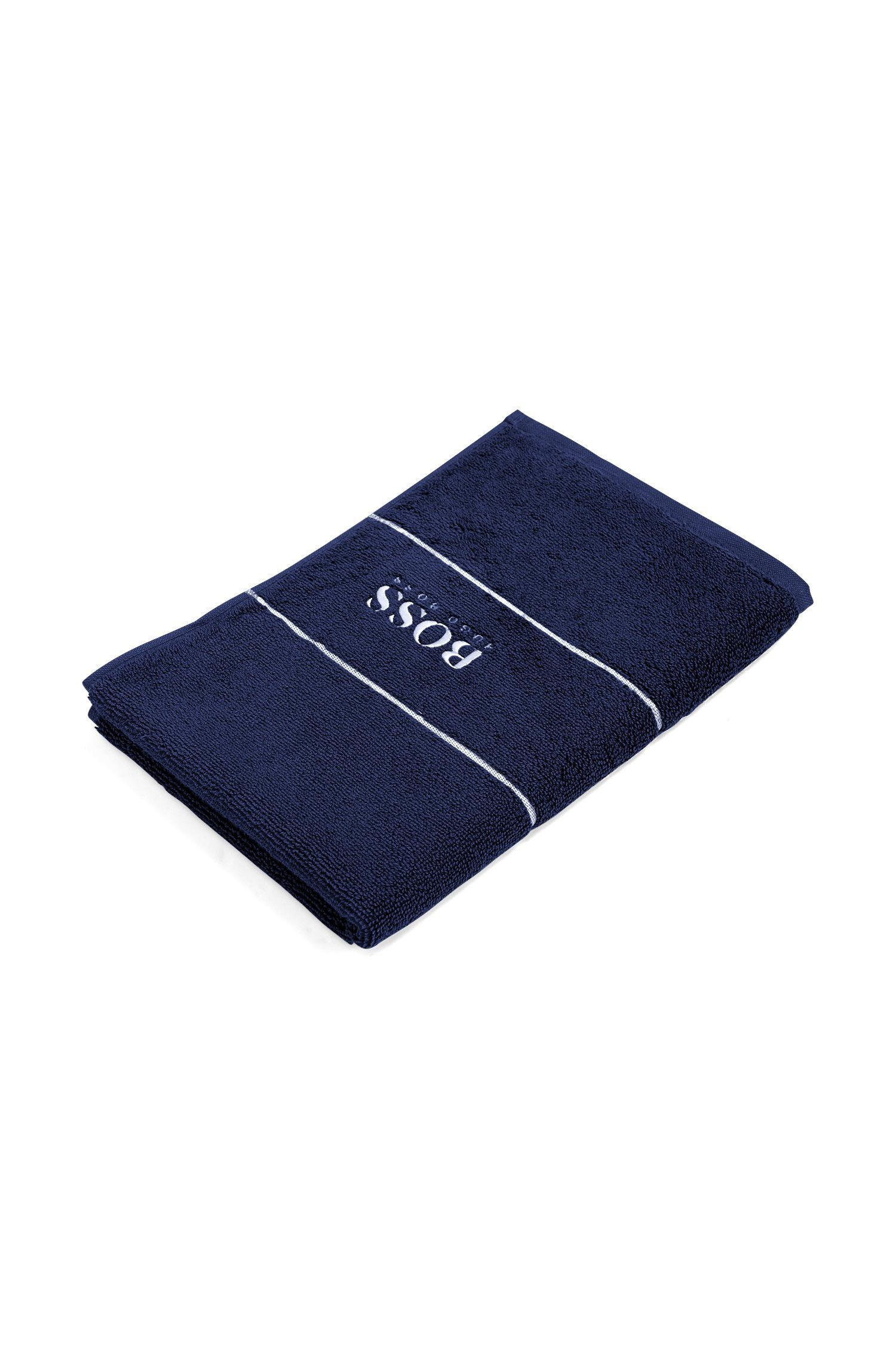 Finest Egyptian cotton guest towel with logo border, Dark Blue