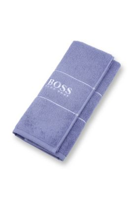 Finest Egyptian cotton guest towel with logo border, Blue