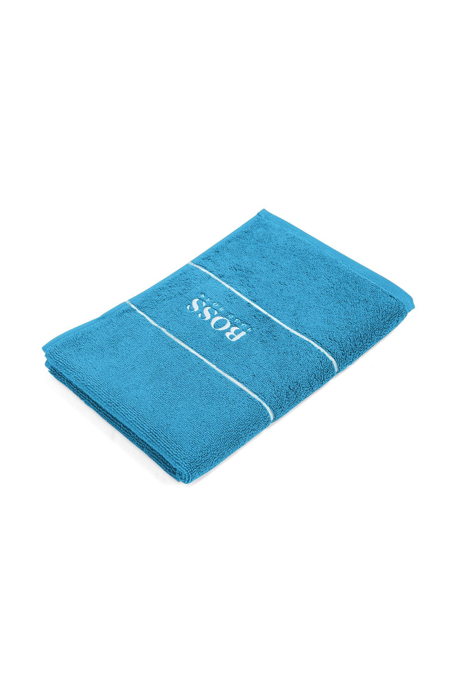 Serviette de toilette pour invité en coton égyptien des plus raffinés avec bordure logo, Bleu