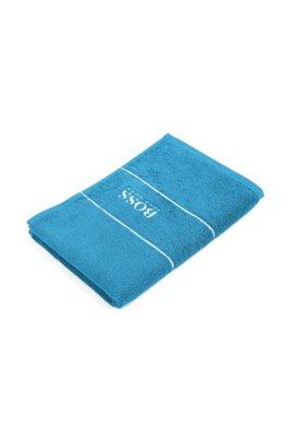 Gästehandtuch aus feinster ägyptischer Baumwolle mit Logo-Bordüre, Blau