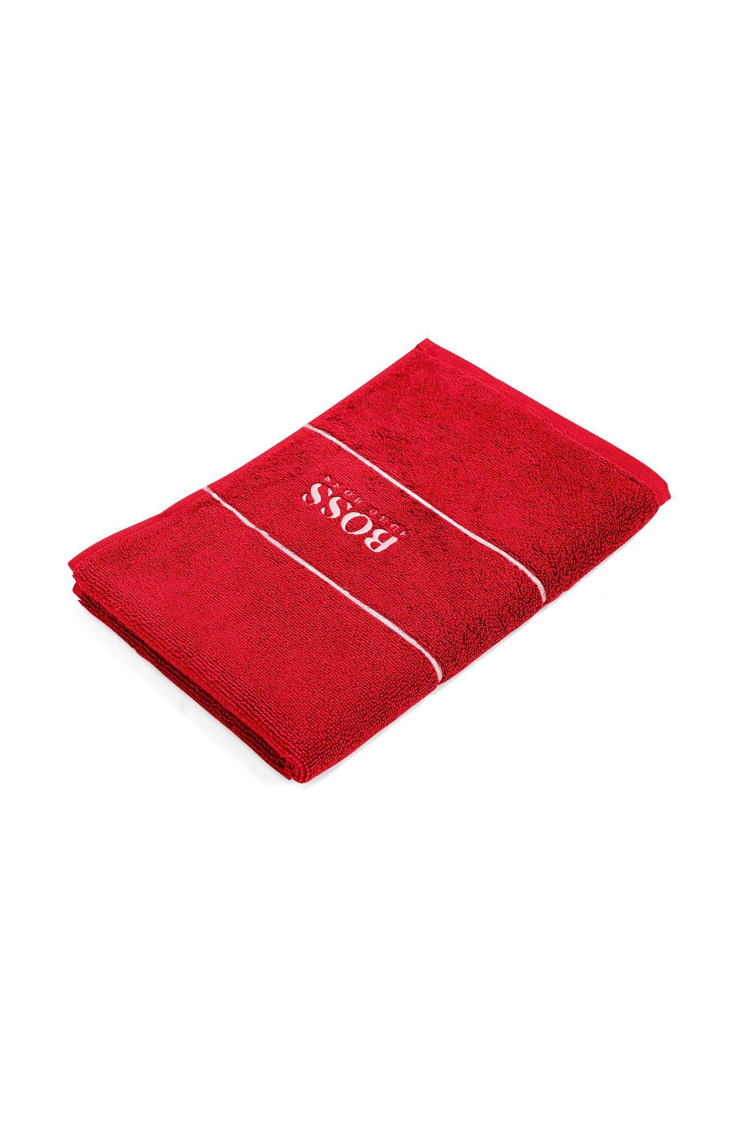 Toalla para invitados en algodón egipcio de la máxima calidad con logo en el borde, Rojo