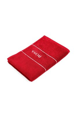 Finest Egyptian cotton guest towel with logo border, Red