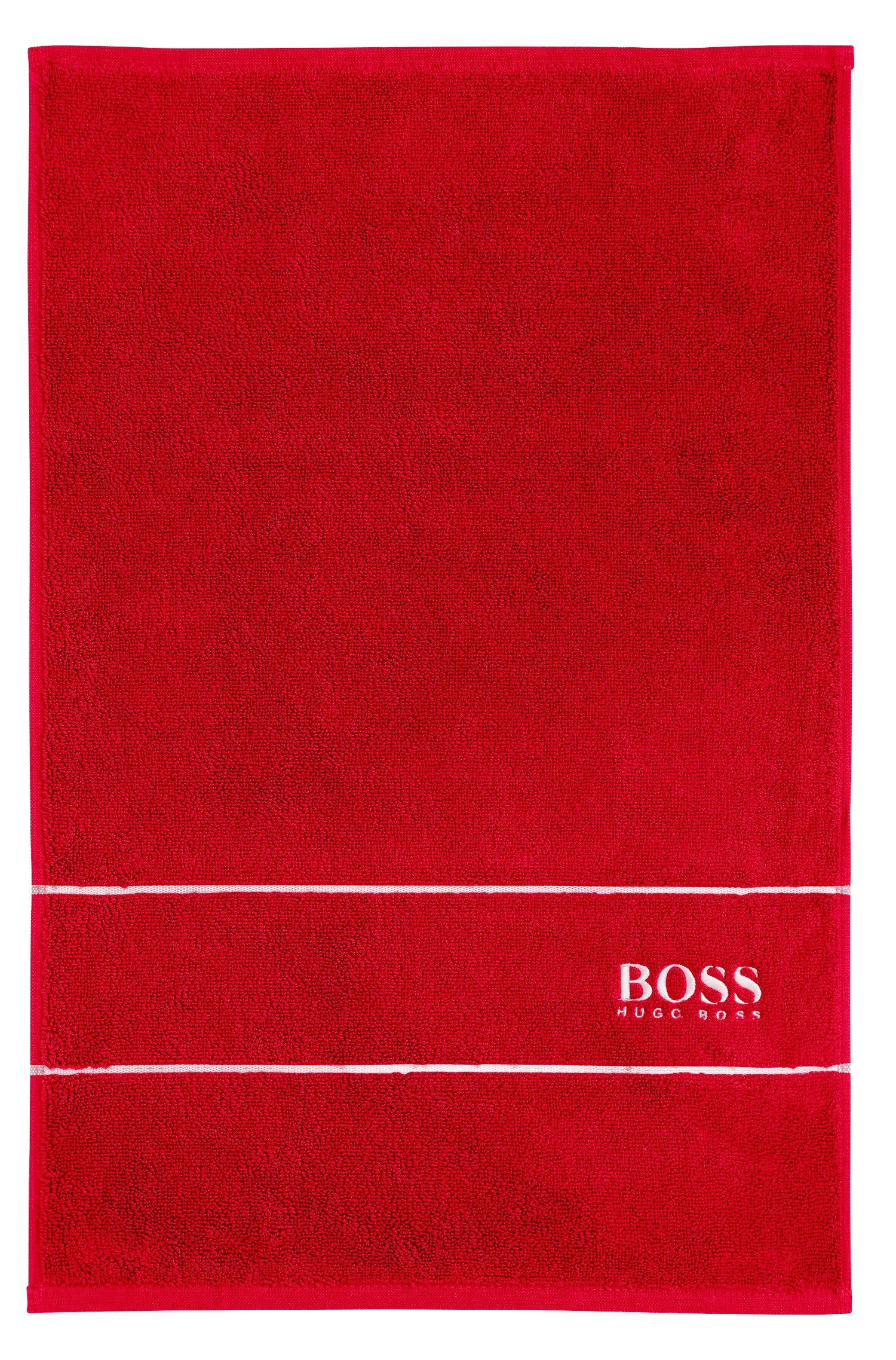 Gästehandtuch aus feinster ägyptischer Baumwolle mit Logo-Bordüre, Rot