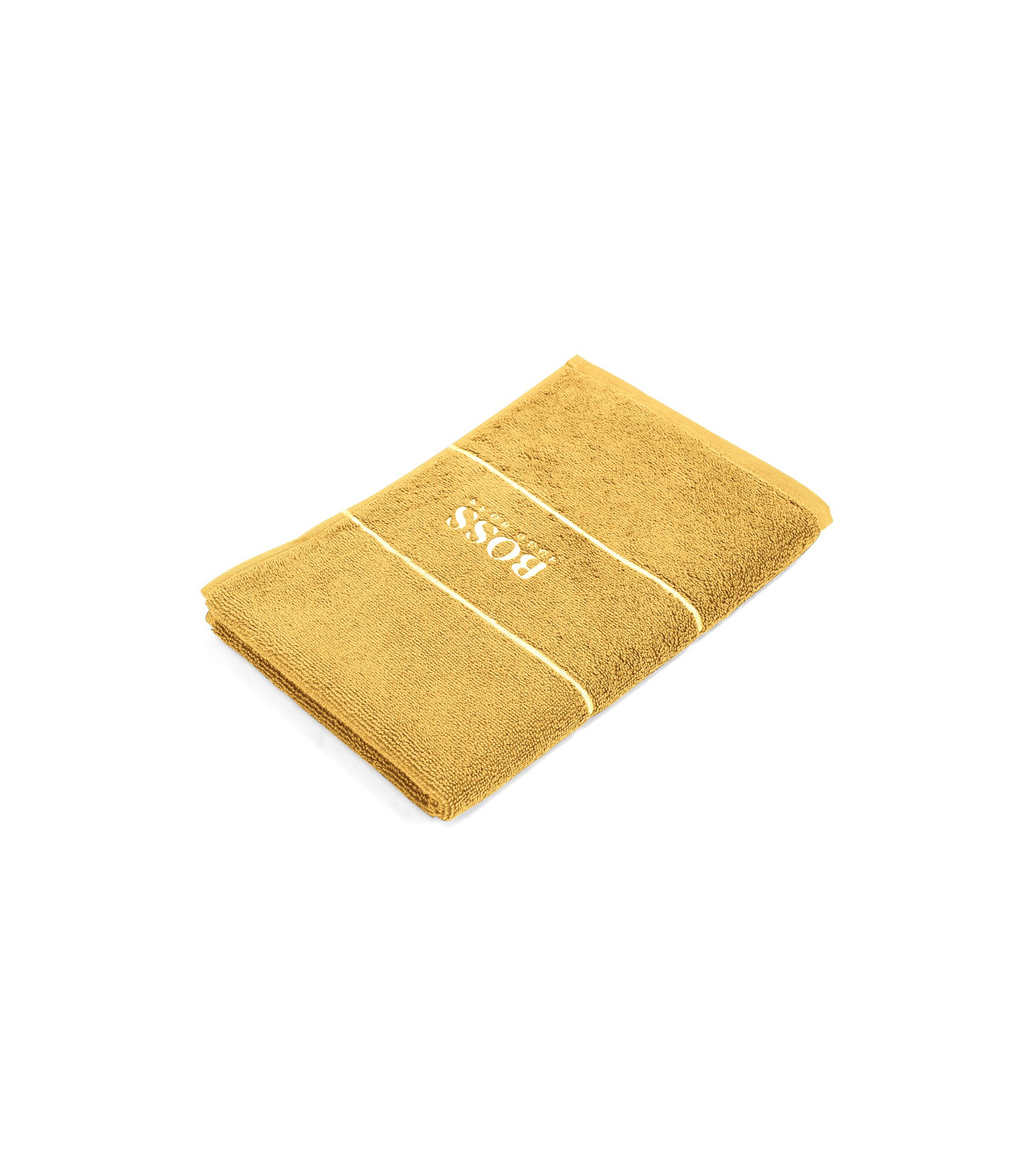 Finest Egyptian cotton guest towel with logo border, Gold