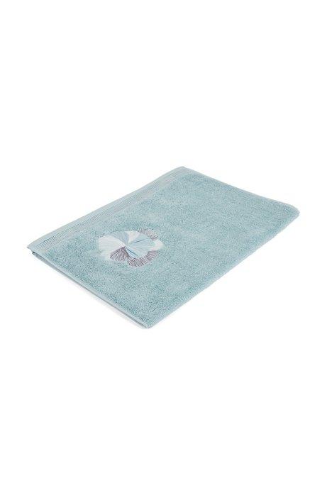Handtuch aus Baumwolle mit Stickerei, Blau