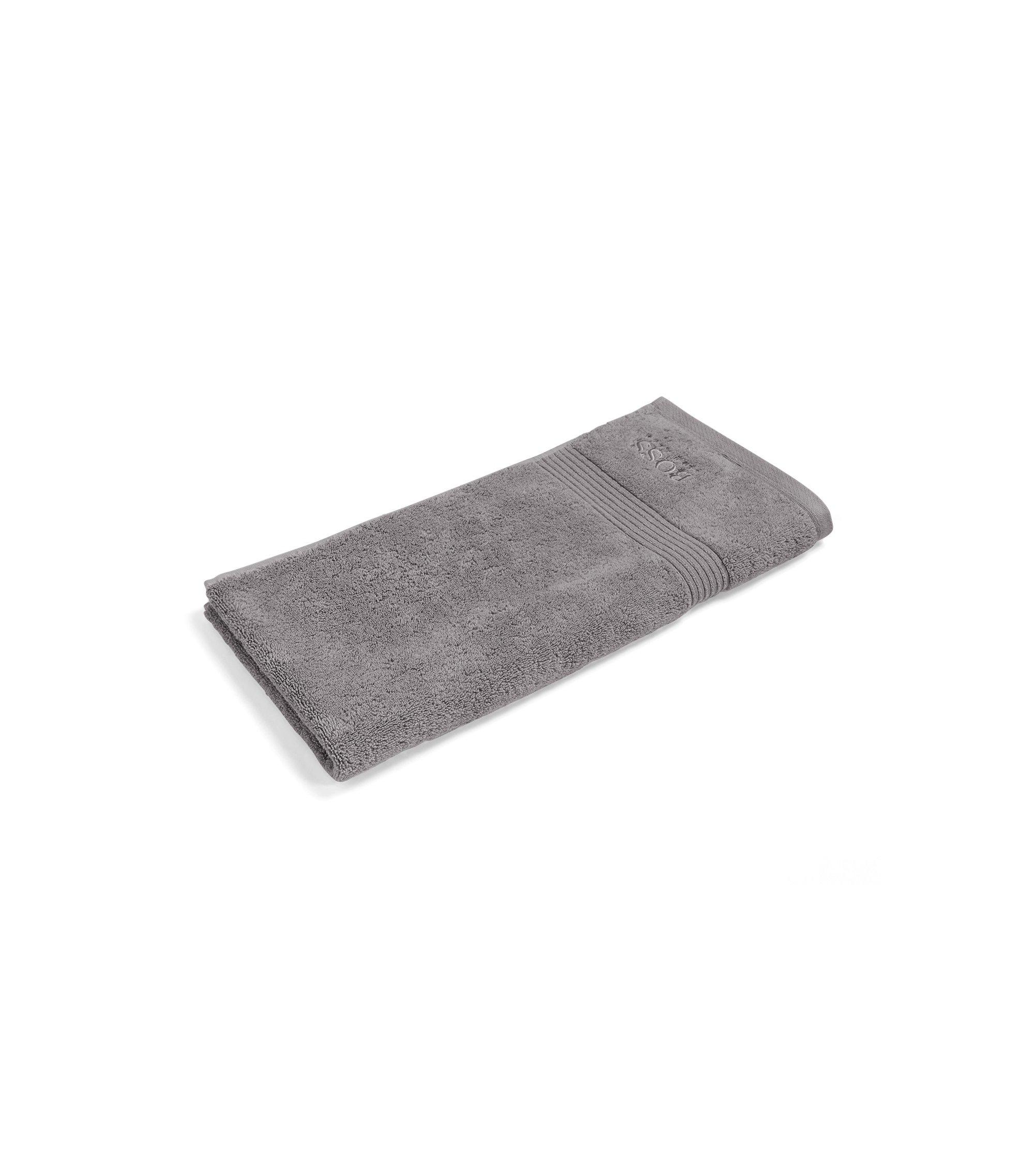 Toalla de mano en algodón peinado del Egeo con borde de canalé, Plata