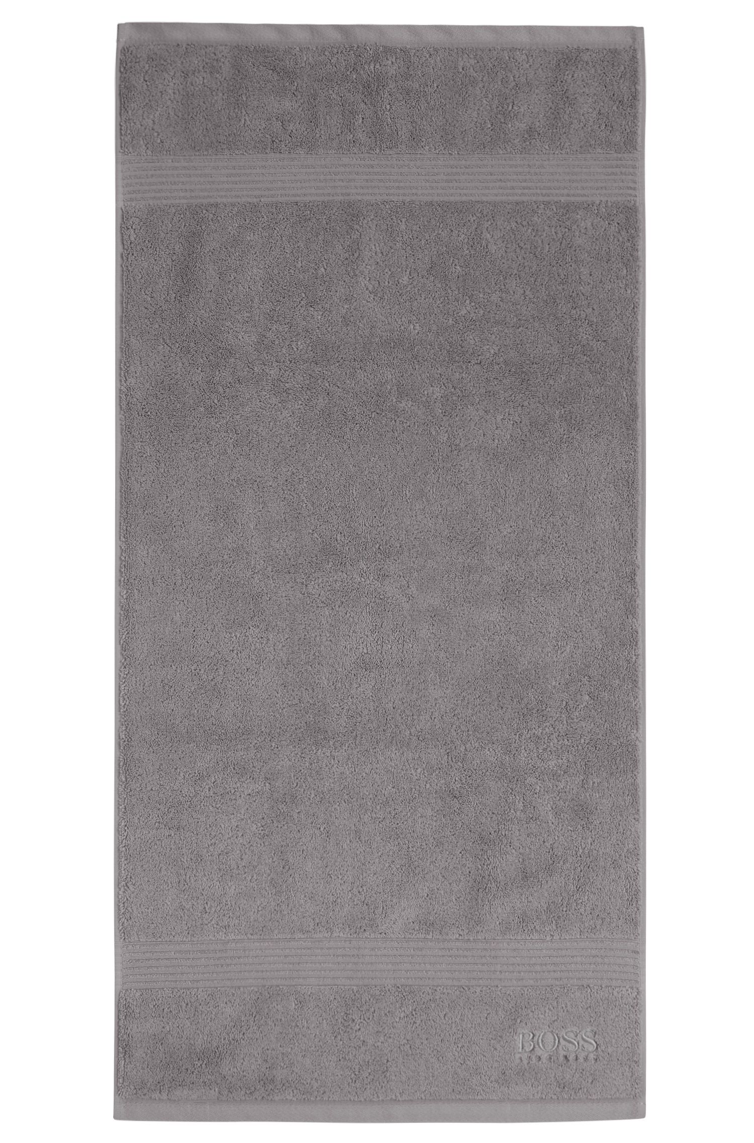 Hand towel in combed Aegean cotton with ribbed border, Silver