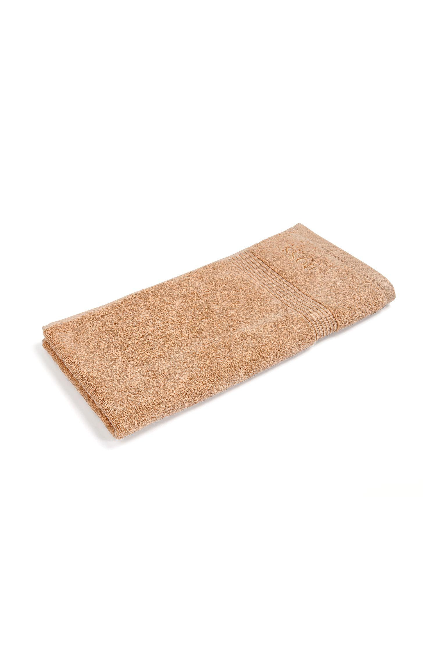 Handdoek van gekamde Egeïsche katoen met geribde rand, Beige