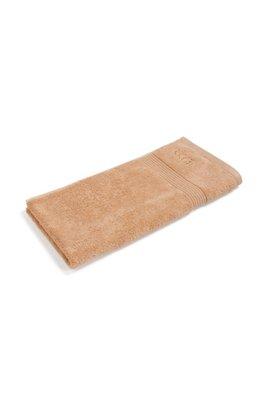 Handtuch aus gekämmter ägäischer Baumwolle mit Ripp-Bordüre, Beige