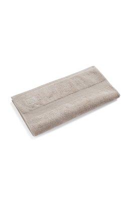 Handtuch aus gekämmter ägäischer Baumwolle mit Ripp-Bordüre, Hellbeige