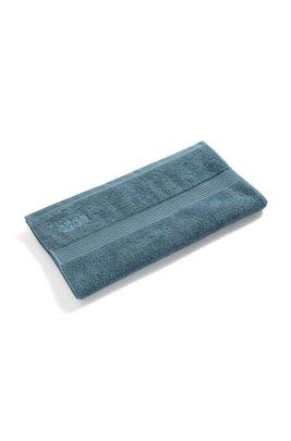 Handdoek van gekamde Egeïsche katoen met geribde rand, Donkerblauw