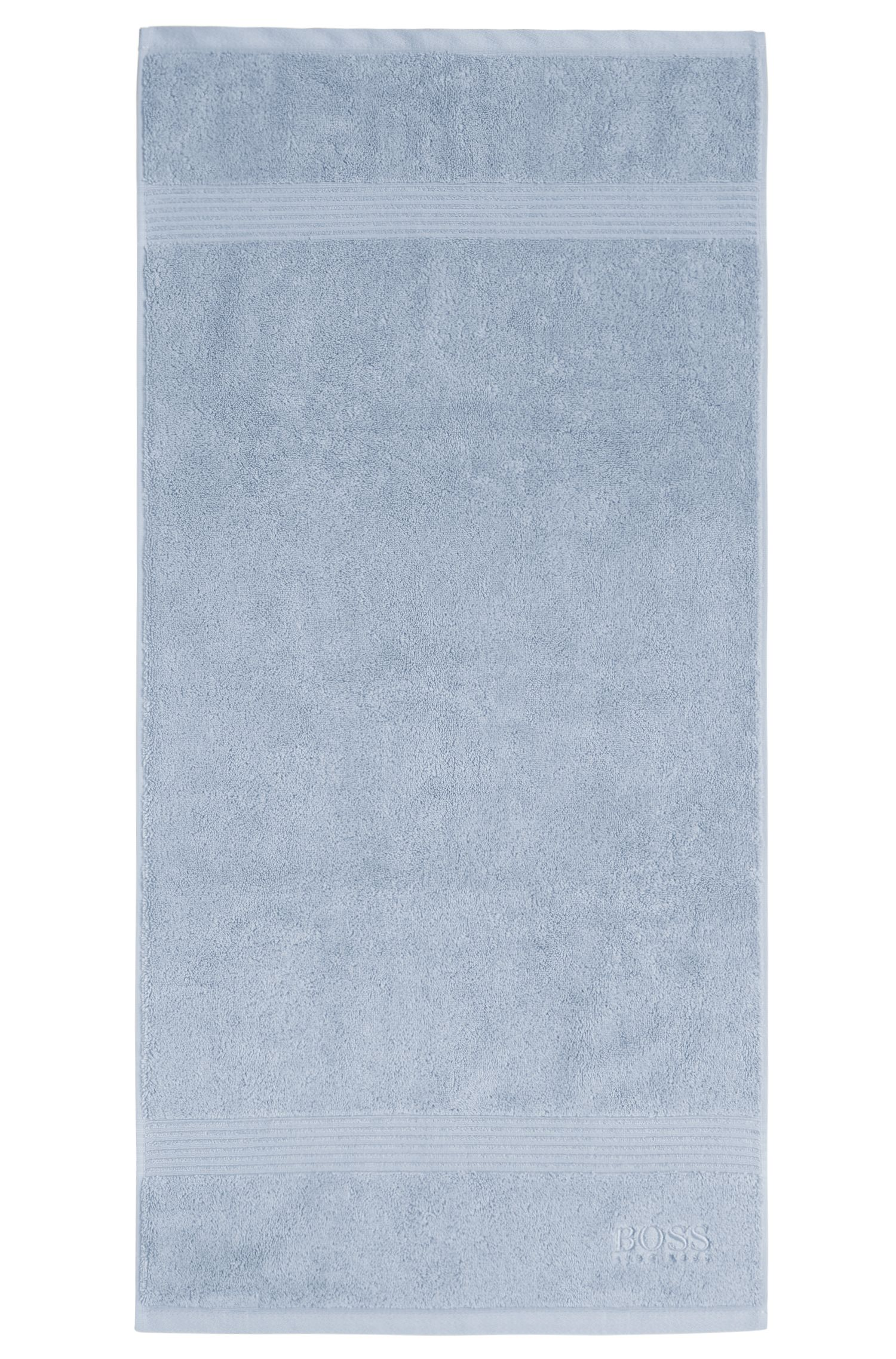 Hand towel in combed Aegean cotton with ribbed border, Light Blue