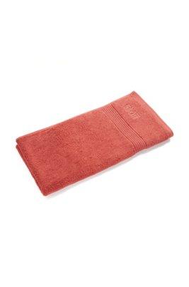 Handtuch aus gekämmter ägäischer Baumwolle mit Ripp-Bordüre, Dunkelorange