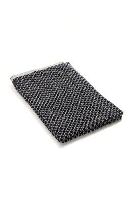 Cotton-velvet hand towel with jacquard monograms, Dark Blue