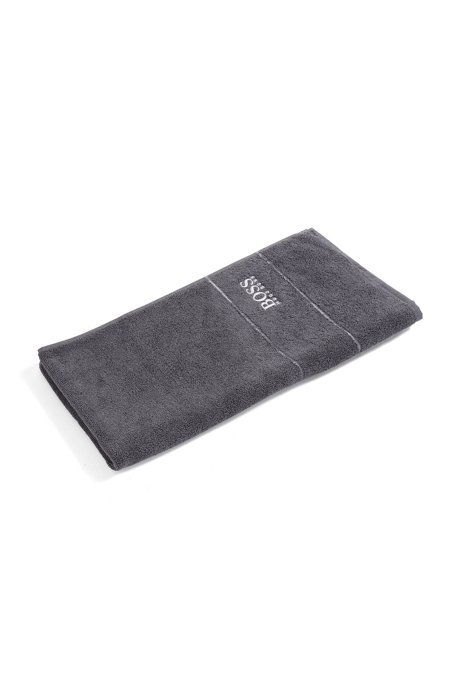 Finest Egyptian cotton hand towel with logo border, Anthracite