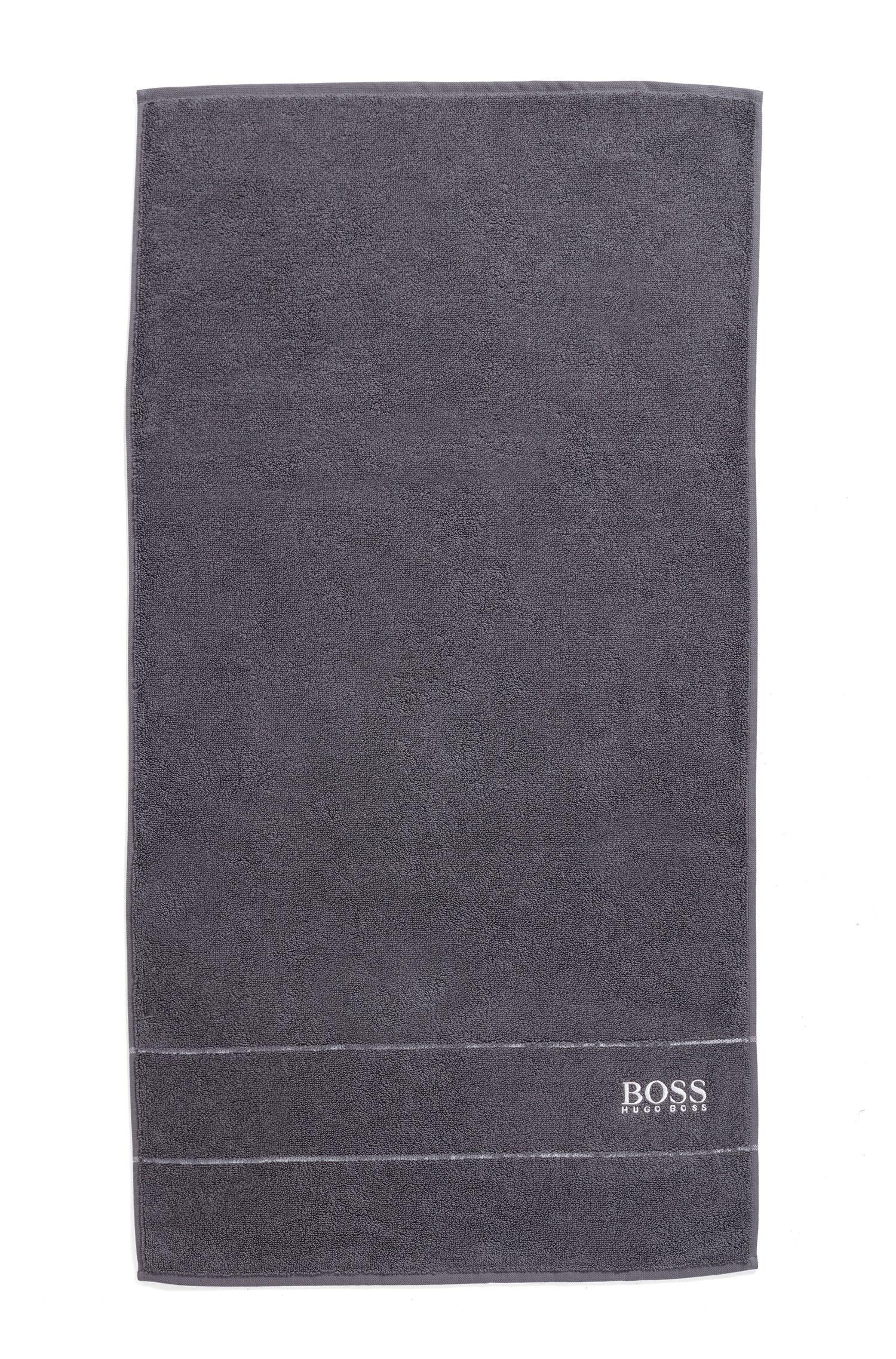 Handtuch aus feinster ägyptischer Baumwolle mit Logo-Bordüre, Anthrazit