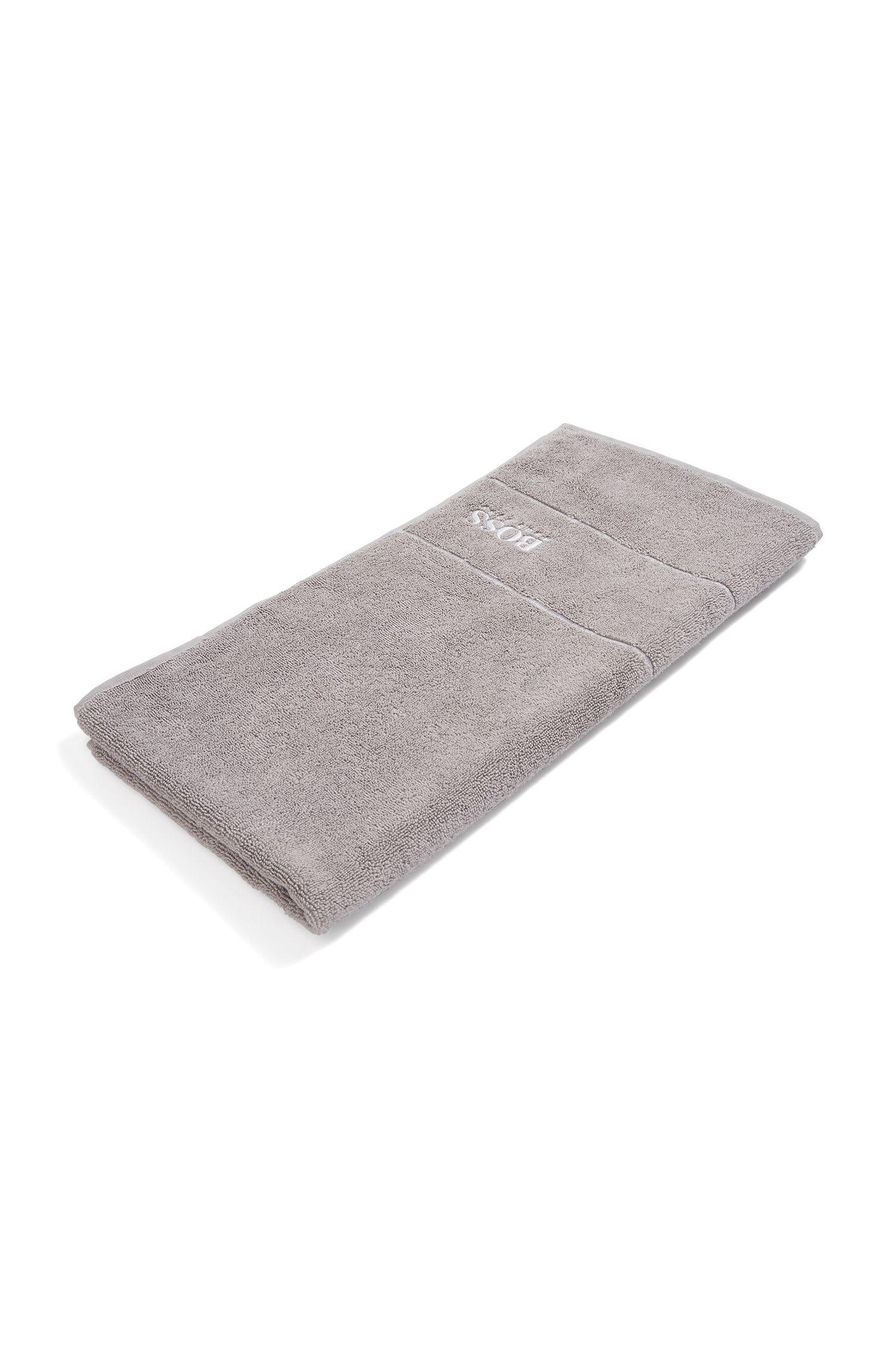 Finest Egyptian cotton hand towel with logo border, Dark Grey