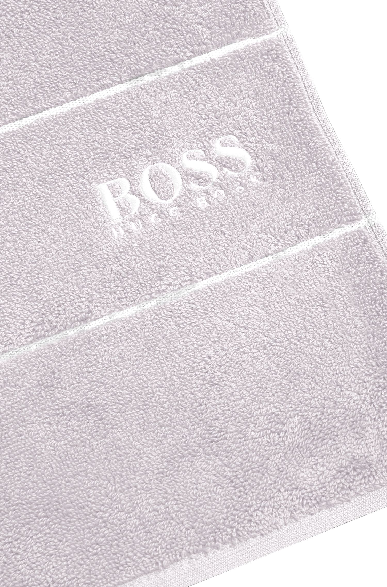 Finest Egyptian cotton hand towel with logo border, Silver