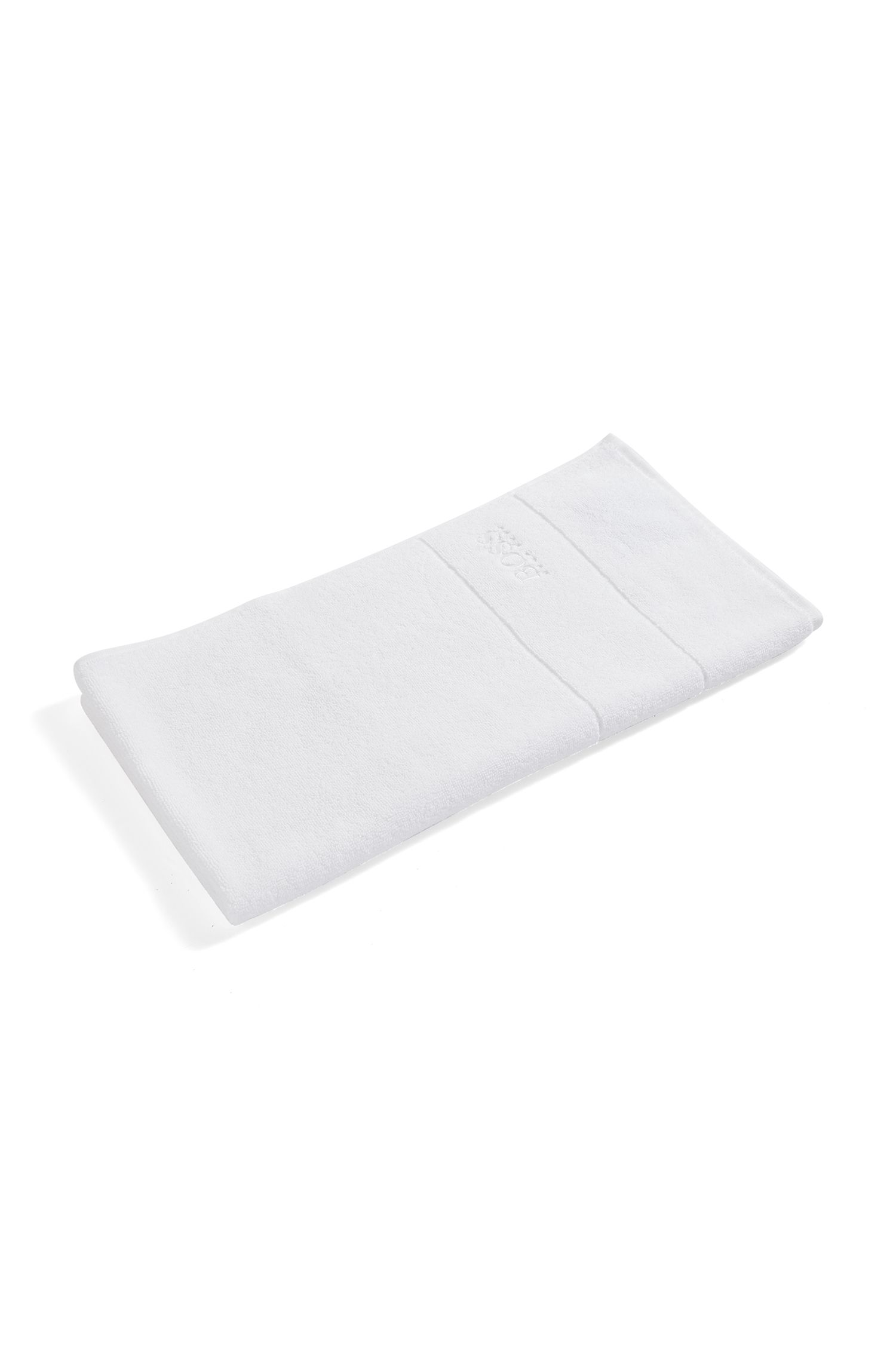 Finest Egyptian cotton hand towel with logo border, White