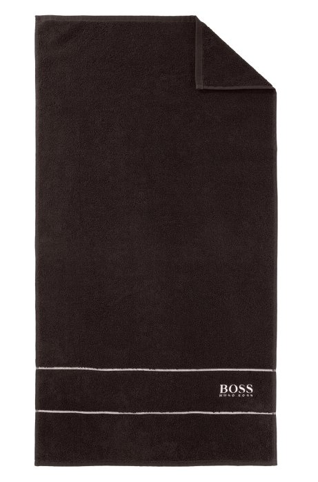 Finest Egyptian cotton hand towel with logo border, Dark Brown