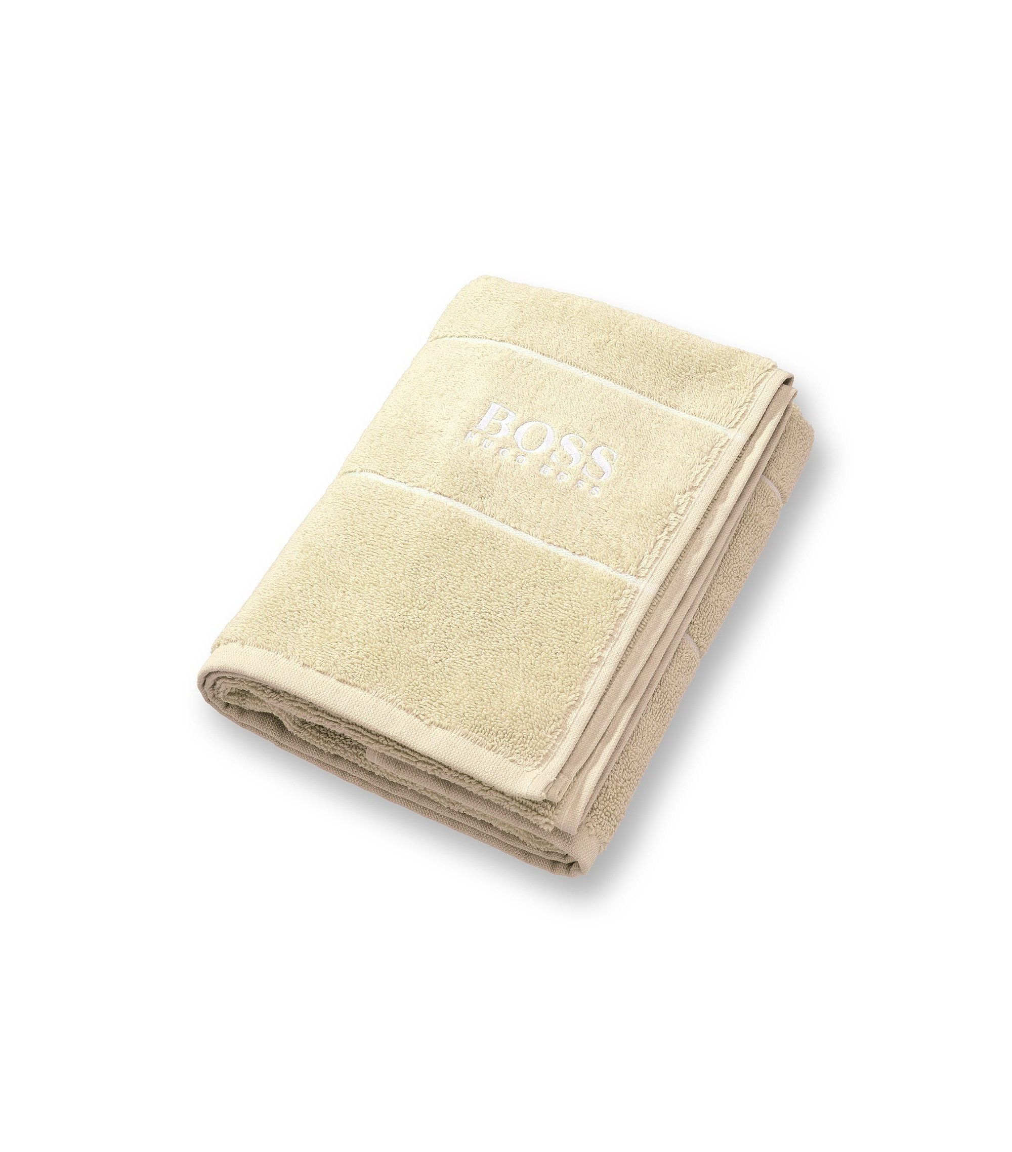 Finest Egyptian cotton hand towel with logo border, Light Beige