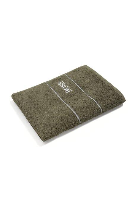 Finest Egyptian cotton hand towel with logo border, Dark Green