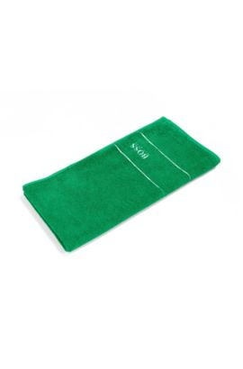 Finest Egyptian cotton hand towel with logo border, Green