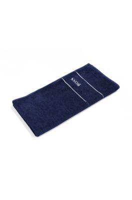 Handtuch aus feinster ägyptischer Baumwolle mit Logo-Bordüre, Dunkelblau