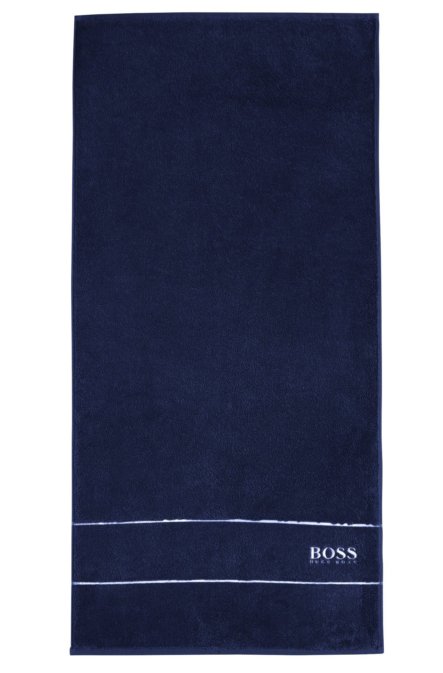 Finest Egyptian cotton hand towel with logo border, Dark Blue