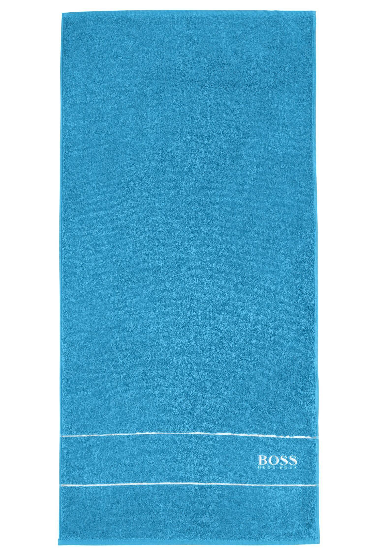 Essuie-main en coton égyptien des plus raffinés avec bordure logo, Bleu