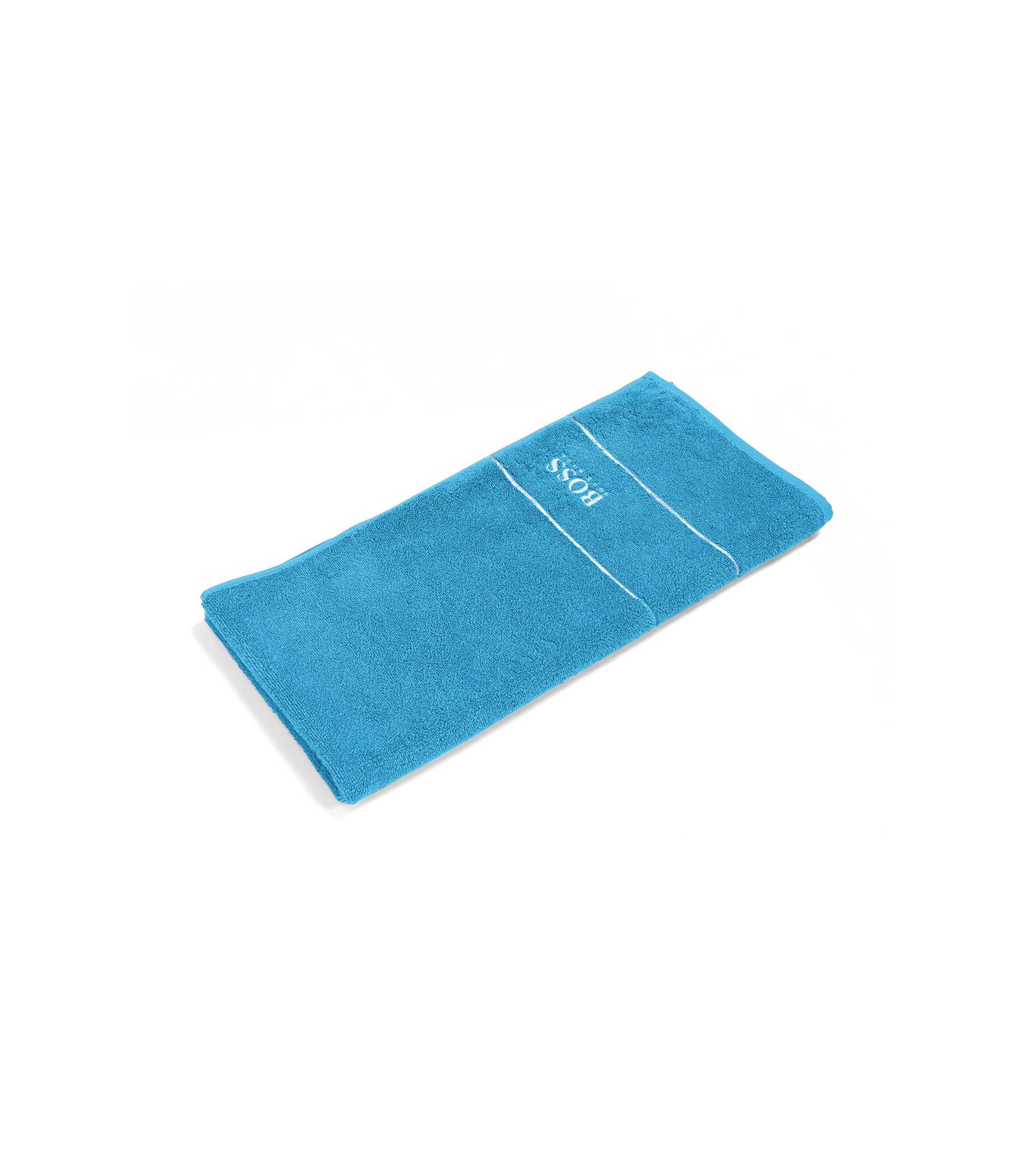 Finest Egyptian cotton hand towel with logo border, Blue