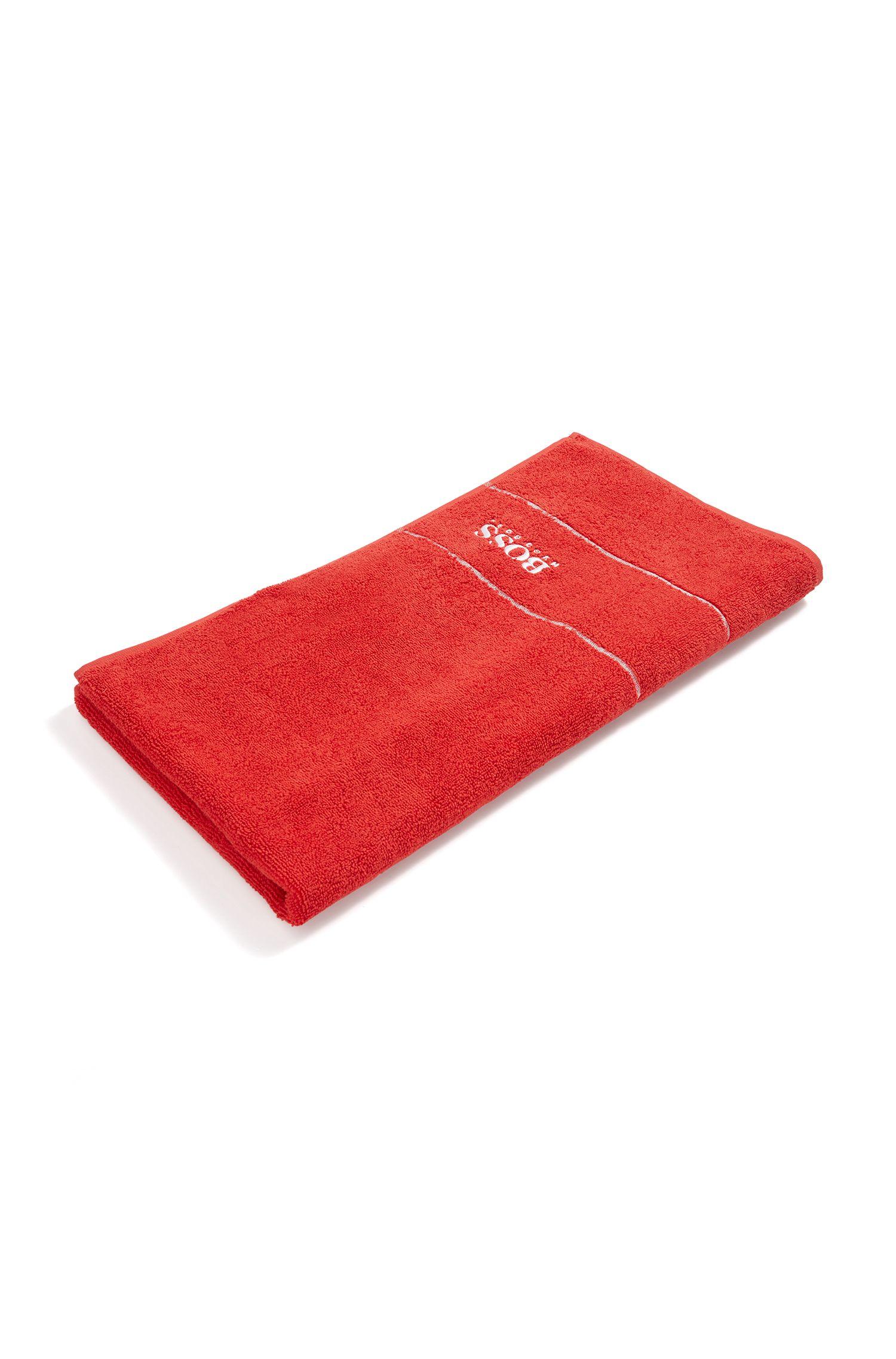 Handtuch aus feinster ägyptischer Baumwolle mit Logo-Bordüre, Rot