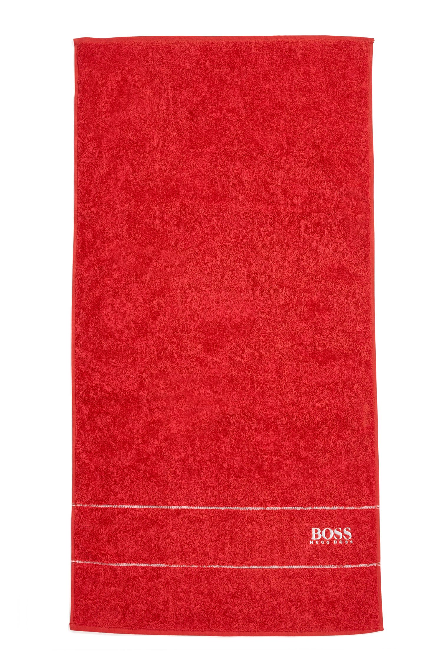 Finest Egyptian cotton hand towel with logo border, Red