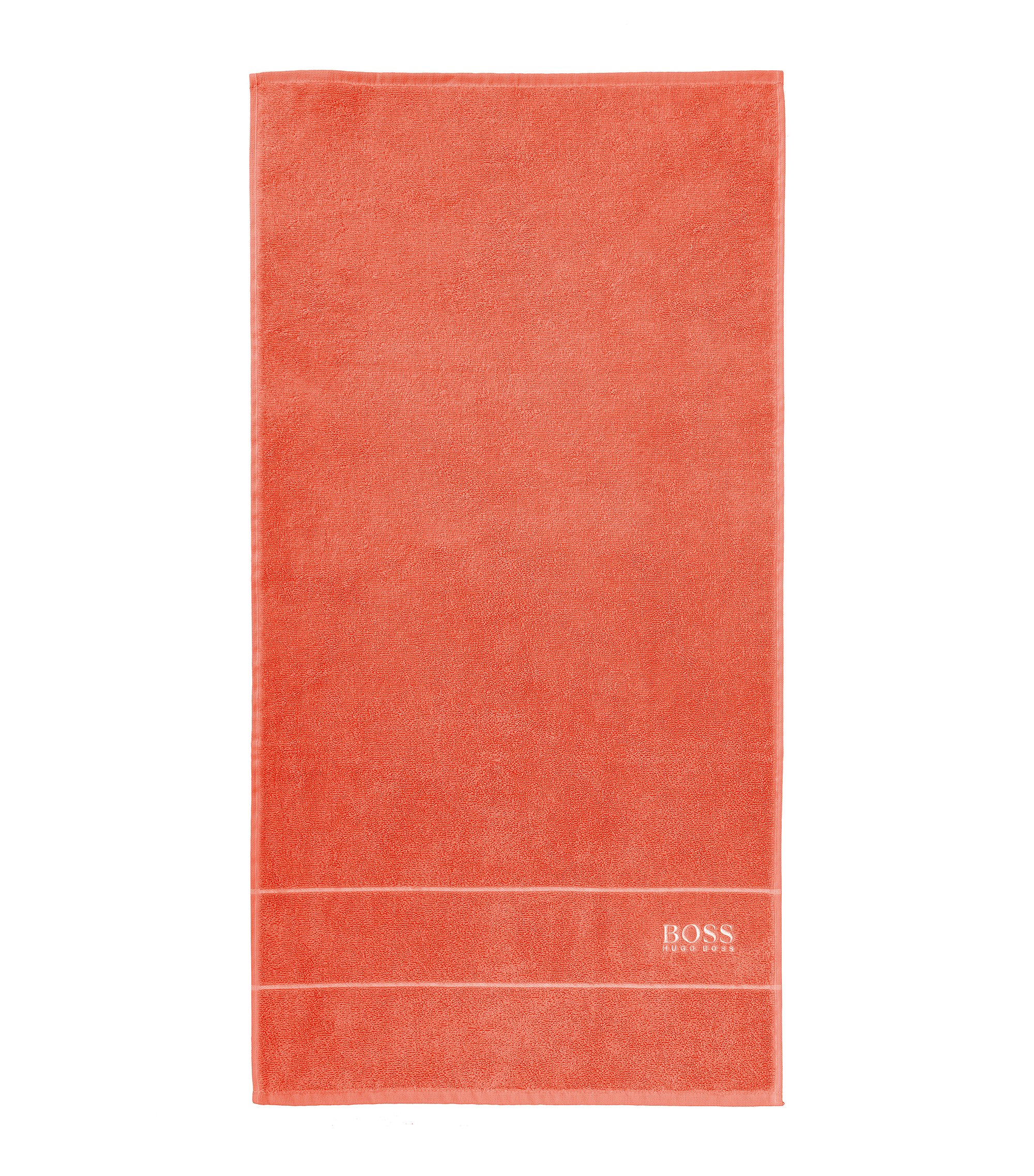 Finest Egyptian cotton hand towel with logo border, Orange