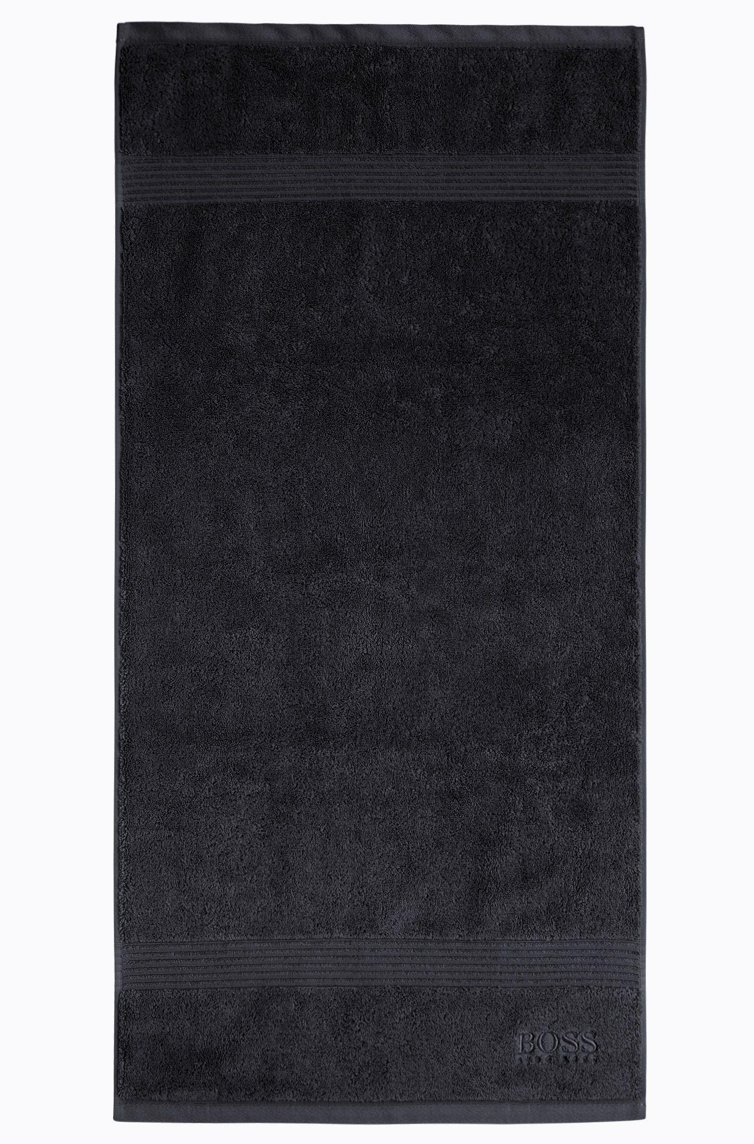Handtuch aus gekämmter ägäischer Baumwolle mit Ripp-Bordüre, Schwarz